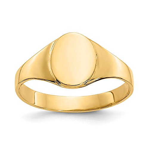 14k Yellow Gold Oval Baby Signet Band Ring Size 1.00 Fine Jewelry For Women Gifts For Her