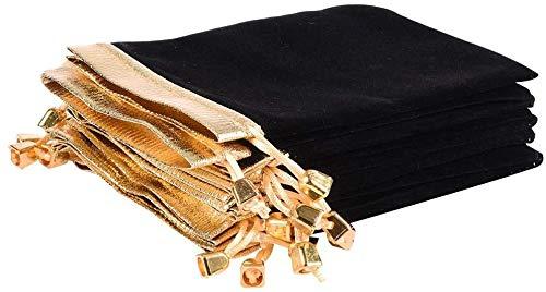 20 bolsas de terciopelo negro con cordón, bolsas de regalo de joyería para Navidad, cumpleaños, bodas, favores de fiesta, joyas, dulces, regalos, bolsas de regalo (16 cm x 12 cm)