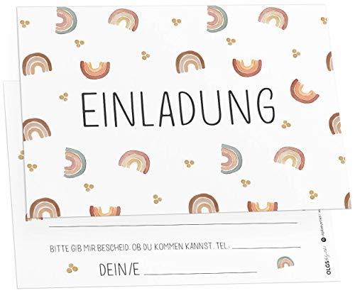 12x Regenbogen Einladungskarten inkl. Umschläge perfekte Einladung zum Kindergeburtstag oder Kinder Party | Geburtstag-Einladungen zum ausfüllen (Regenbogen)