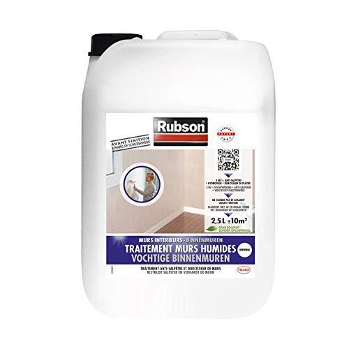 Rubson Traitement Murs Humides, Traitement 3-en-1 anti-salpêtre, hydrofuge et durcisseur de plâtre pour tous supports sur mur intérieurs, produit anti-humidité, 2,5 L