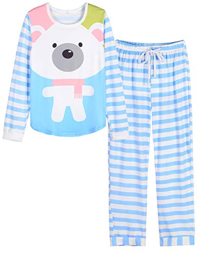 VENTELAN Women Long Sleeve White Bear Round Neck Pajamas Set Striped Sleepwear C-Blue White Bear S (USA Size:4-6)