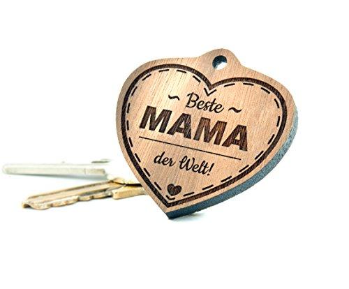 Geschenkfreude Schlüsselanhänger Mama mit Gravur/Mama Geschenkideen/Geschenke für Mama - wahlweise mit hochwertiger Geschenkverpackung und persönlicher Gravur/Walnussholz - Muttertags Geschenk