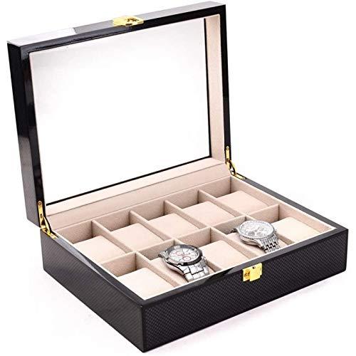 ANZRY Caja de Almacenamiento de Reloj Almacenamiento de Exhibición de Joyería con Tapa de Vidrio y Almohadas de Almacenamiento de Extracción Caja de Reloj Caja de Reloj de Cuero