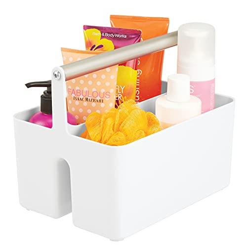 mDesign Caja organizadora para cuarto de baño – Cesta con asa para el almacenamiento de productos cosméticos – Organizador de baño con 2 compartimentos – blanco/plateado mate