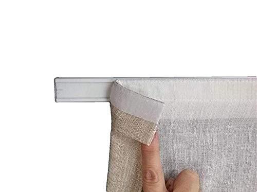 mauro Portavisillos con Velcro para Cortinas y visillos para Ventanas-Barra Perfil con Velcro+Soporte-tamaño de 35 a 100 cm (A - 35 cm)