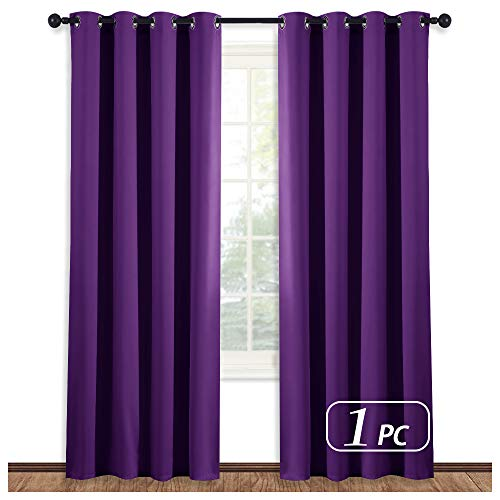 NICETOWN Blackout Window Curtain Short - (Deep Purple Color) Home Fashion Thermal Insulated Room Darkening Drapery for Bedroom, 52W x 84L, Sold Individually