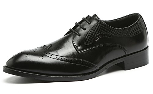 Oxford Shoes for Men Classic Modern Brogue Formal Wingtip Lace Up Dress Shoes Derby Black 9.5 US
