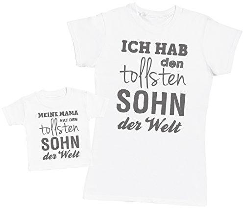 Ich hab den tollsten Sohn - Passende Mutter Baby Geschenk Set - Damen T-Shirt & Baby T-Shirt - Weiß - L & 86 (1-2 Jahre)