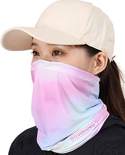 SILVERHORSE Neck Gaiter Adjustable Sun Protection Cooling for Men Women Balaclava Bandana Face Mask Scarf Face Coverings Pink