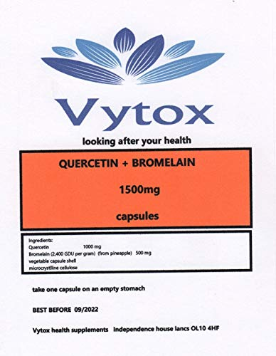 Quercetin & Bromelain (1500mg) 365 Capsules, 12 Months Supply, by vytox, Vegetarian