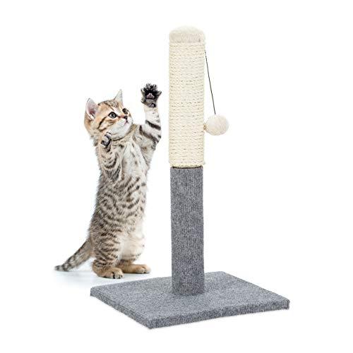 Relaxdays 10023731 Poste Rascador para Gatos con Juguete, Sisal, Gris, 54 x 29.5 x 28.5 cm