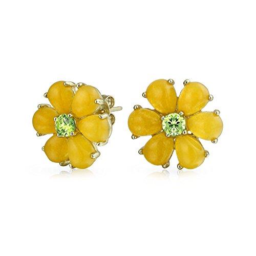Cz Estilo De Botón Amarillo Teñido De Jade Pendiente Boton Flor Para Mujer De 14K De Oro Chapado En Plata Sterling 925