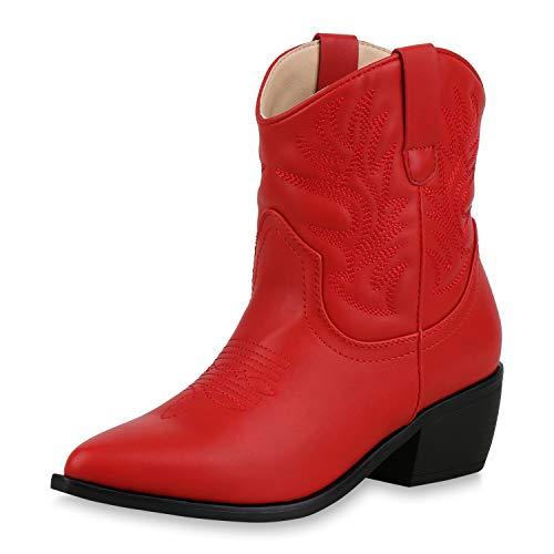 SCARPE VITA Damen Stiefeletten Cowboy Boots Western Schuhe Stickereien Stiefel 173335 Rot 37