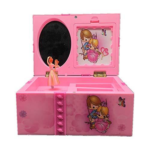 Mryishao Caja de músicaDream Girl Music Box Niños Joyería Musical Caja Rectángulo con Rosa Bailarina Alicia en el País de Las Maravillas Caja de música Caja de joyería