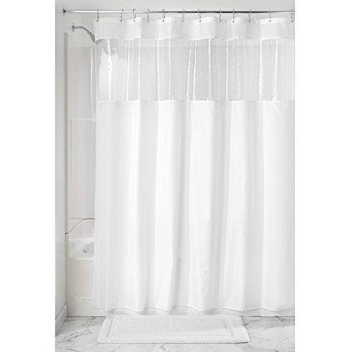 iDesign Duschvorhang, Stoff Duschvorhang mit Sichtfenster, schlichter Badewannenvorhang in der Größe 183,0 cm x 183,0 cm, Polyester weiß/durchsichtig