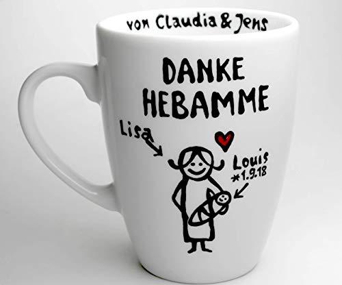 Geschenk für die Hebamme als kleines Dankeschön personalisierte Tasse mit Namen mit Hebamme und Baby Comic Figur