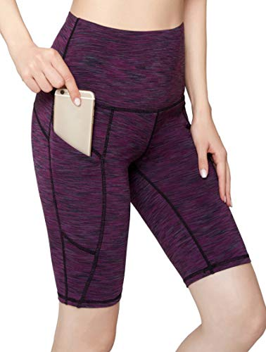 Oalka Women's Yoga Short Side Pockets High Waist Workout Running Shorts Space Dye Camo Purple L