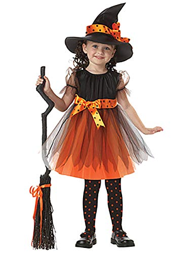 ShiyiUP Halloween Mädchen Kostüm Karneval Fasching Bekleidung Kinder Hexen Fledermaus Kleidung ,Gelbe Hexe,120