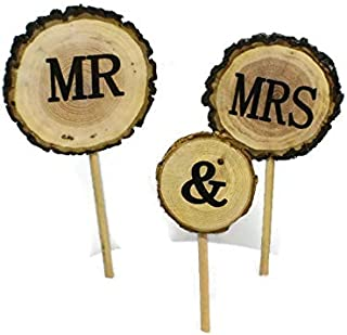 Mr and Mrs Rustic Wood Wedding Cake Topper