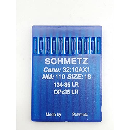 TOMASELLI MERCERIA Schmetz - 10 agujas para máquina de coser industrial NM: 110, tamaño: 18, 134-35, LR, DPx35LR