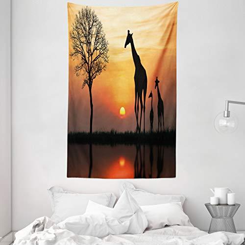 ABAKUHAUS Afrika Wandteppich & Tagesdecke, Giraffe im Wilden Wald aus Weiches Mikrofaser Stoff Waschbar ohne Verblassen Digitaldruck, 140 x 230 cm, Schwarz Orange