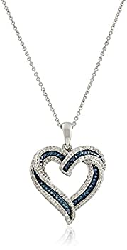 Amazon Collection Sterling Silver Blue and White Diamond Heart Pendant Necklace  1/2 cttw  18