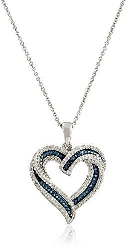 """Amazon Collection Sterling Silver Blue and White Diamond Heart Pendant Necklace (1/2 cttw), 18"""""""