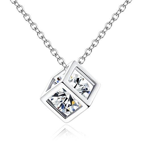 Collar de mujer, collar de plata de circonita envolvente de cubo de agua, colgante brillante, empaque exquisito, regalo de San Valentín / fiesta / aniversario / cumpleaños