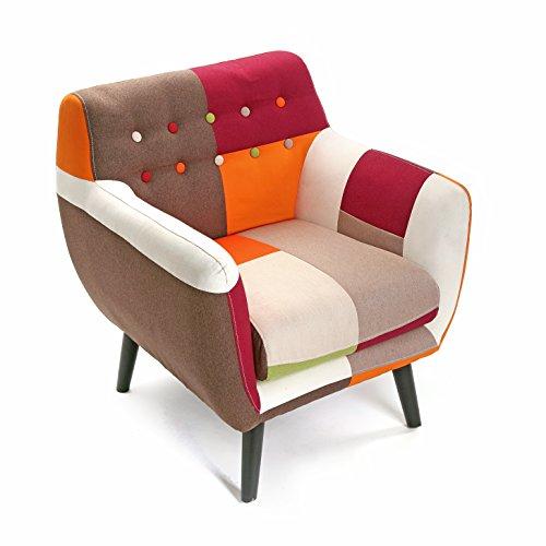 Versa 19500460 Butaca tapizada con reposabrazos Red Patchwork, Algodón, Rojo, Naranja, Beige, 76 x 63 x 68 cm