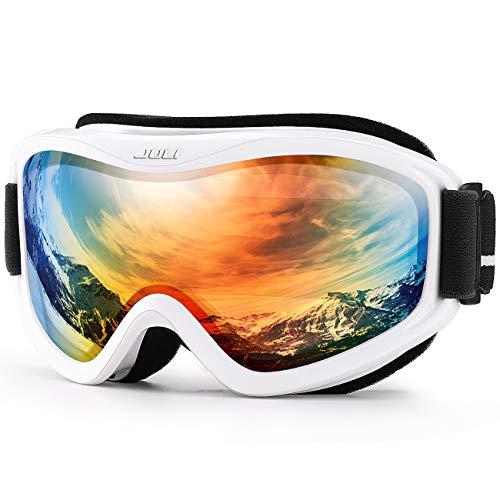 Juli - Gafas de esquí y snowboard para hombres, mujeres y jóvenes, 100% protección UV, lente doble antivaho (marco blanco + 15% lentes coloridas)