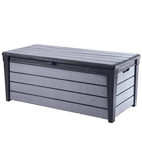 Keter Garden Storage Box Brushwood 455L Anthracite Outdoor Trunk Chest Bench