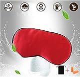 100% Silk Sleep Mask & Blindfold, Soft Eye Mask with Adjustable Head Strap,Eye Masks for Sleeping Night Eyeshade, Comfortable Eye Cover for Travel, Shift Work & Meditation with Earplug (Red)