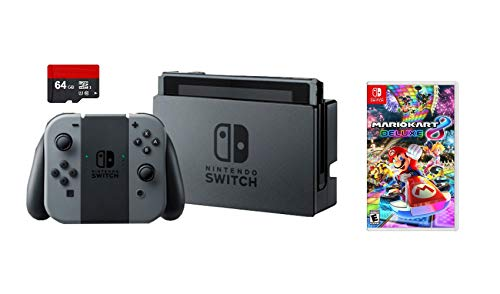Nintendo Switch 3 Items Bundle: Nintendo Switch 32GB Gaming Console with Gray Joy-Con, 64GB MicroSD Memory Card, and Mario Kart 8 Deluxe