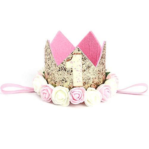 Henan Corona de Cumpleaños, Corona de Bebé de Cumpleaños de 1 Año, Corona de Cumpleaños de Bebé, para...