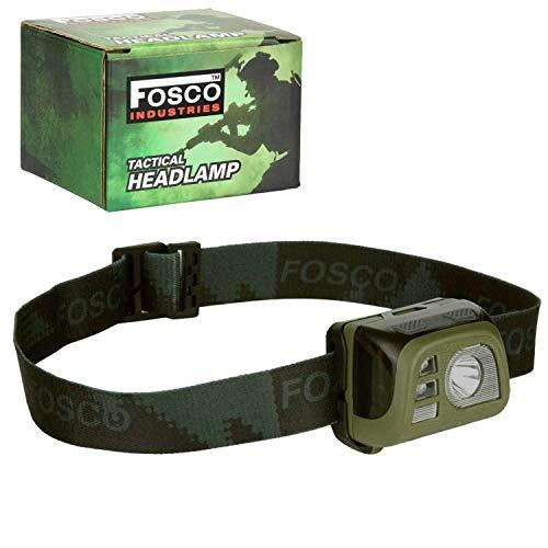 Fosco Industries Taktische Kopflampe Stirnlampe Rot-Licht Strobe-Light 140 Lumen