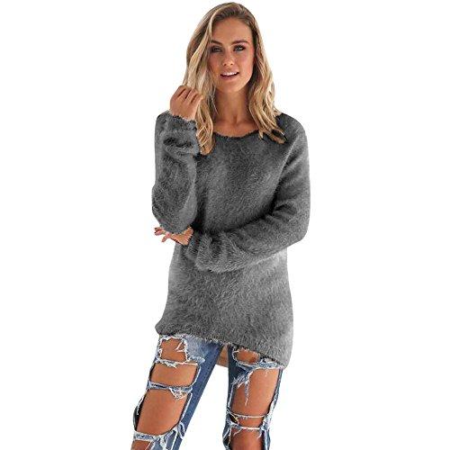 SHOBDW Mujer Suéter para Mujer Cuello Redondo Cárdigan Ocasional Sólido Suelto Otoño Invierno Tops de Manga Larga Cálido Prendas de Punto Jersey Jerséis Blusa Abrigo Vestido(Gris,S)