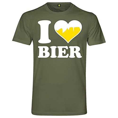 I Love Bier T-Shirt | Ich Liebe | Beer | Alkohol | Saufen | Party | Weizen Militär Grün XL