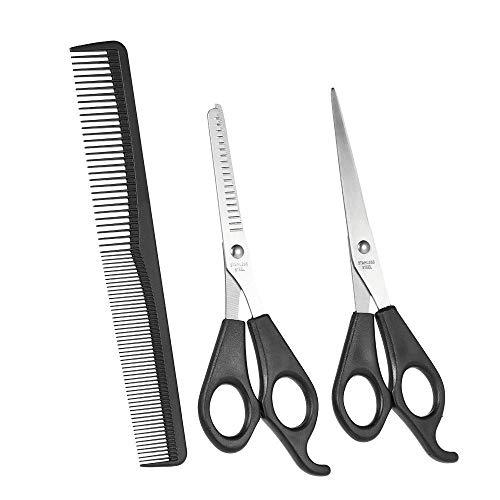 Lot de 3 accessoires de salon de coiffure incluant ciseaux standards, ciseaux à effiler et peigne