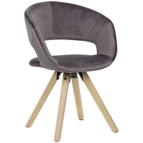FineBuy Design Esszimmerstuhl Samt Modern | Küchenstuhl mit Lehne | Stuhl mit Holzfüßen | Polsterstuhl Maximalbelastbarkeit 110 kg