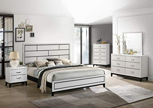 Roundhill Furniture Stout Contemporary Panel Bedroom Set with Queen Bed, Dresser, Mirror, Night Stand, Chest, White