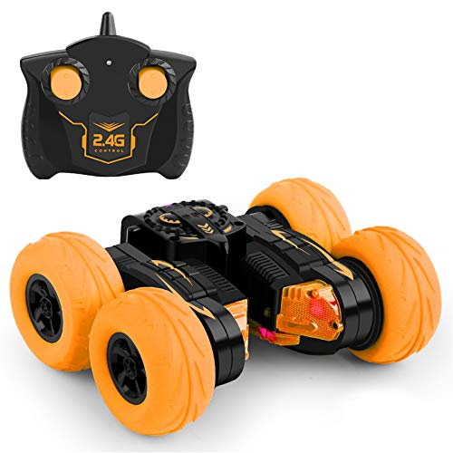 Remote Control Car Trans Former Stunt Car Toy Fast 100 mph RC Cars 4WD 2.4Ghz Double-Sided Wheels 360° Standing Rotation with Two Rechargeable Batteries, Best Gift Toy for Kids Adult (Orange)