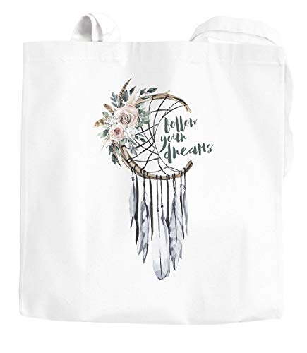 Yute bolsa–Atrapasueños Follow Your Dreams Alemán Flores plumas Alemán boho funda de algodón bolsa de tela Autiga, Dreamcatcher Weiß, 2 lange Henkel
