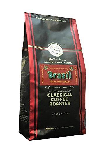 コーヒー豆 クラシカルコーヒーロースター 100%アラビカ豆 ブラジルサントス 完熟 SC17/18 250g (8.8oz) 極細挽 エスプレッソパウダー