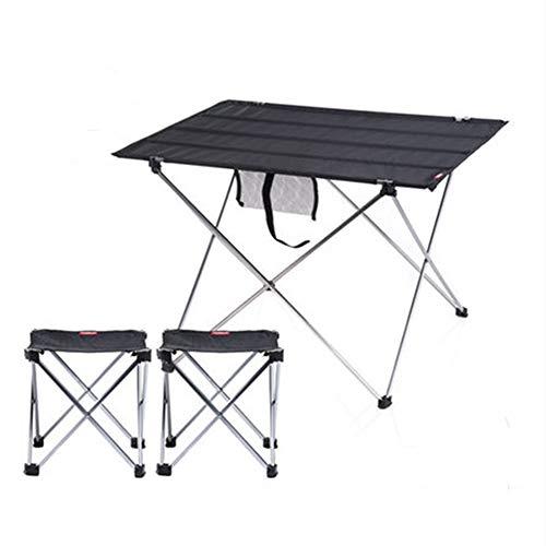 Draagbare picknick- en campingtafel en twee stoelen, inklapbaar accordeon aluminium frame, met wasbare stoffen tafelblad Trekkoord draagtas