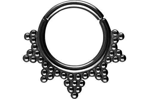 PIERCINGLINE Surgical Steel Segment Ring Clicker Balls Piercing Ring Nose Septum Ear Helix Choice of Colours Black