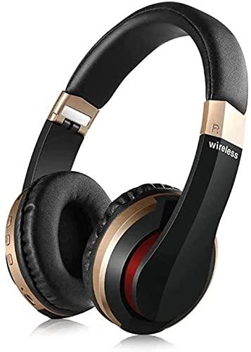 XUERUIGANG Auriculares de cancelación de Ruidos Auriculares Bluetooth con micrófono Auriculares inalámbricos de bajo sobre Oreja, Earpads de proteínas cómodas, largas Horas de Juego para Viajes/trab