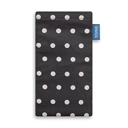 YOMIX Gunilla Grau mit Strahlenschutz Handytasche Tasche für Nubia N2 aus beschichteter Baumwolle mit Microfaserinnenfutter | Hülle mit Reinigungsfunktion | Made in Germany