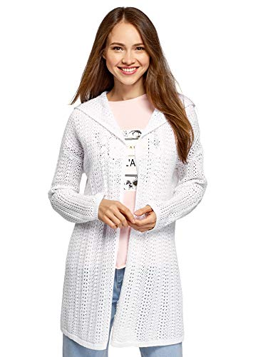 oodji Ultra Damen Ajour-Cardigan mit Kapuze, Weiß, DE 42 / EU 44 / XL