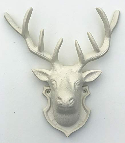 Spring life CAST IRON RUSTIC WALL MOUNTED METAL REINDEER DEER STAG HEAD WITH ANTLERS in 2 colours (antique white)