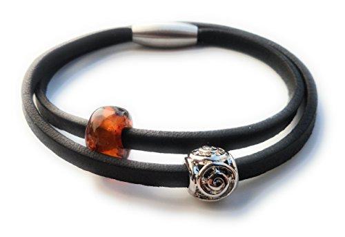 AmberConnections Unisex Naturleder Armband mit Bernstein und Rondell Perle, 2-reihig, schwarz